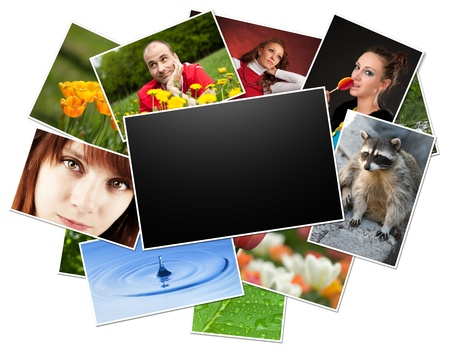 memory card: collection of photos with blank frame.