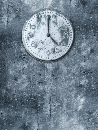 Grunge background with broken clock photo