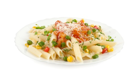 Rigatoni pasta with vegetables on a plate photo