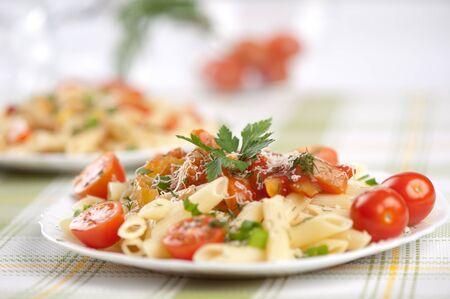 italian pasta: Italian pasta with sauce and parmesan cheese