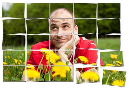 composing: Multiple filmstrip photo frames composing man portrait