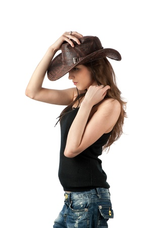 カウボーイ ハットで若い女性 写真素材