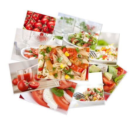 collection of photos with food. Vegetables, rice, pasta photo