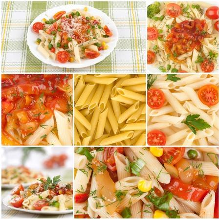 이탈리아 파스타. 음식 콜라주 스톡 콘텐츠