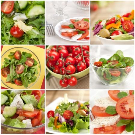 구 사진에서 만든 야채 샐러드 콜라주 스톡 콘텐츠