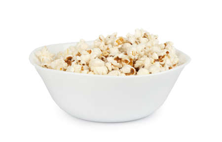 popcorn in a bowl isolated on white photo