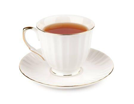 tazza di te: tazza di tè isolato su bianco