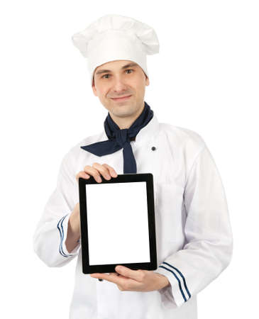 young cook man showing a digital tablet photo