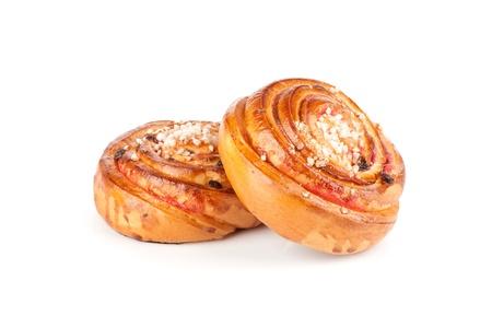 Homemade cream roll with strawberry jam
