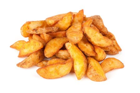 grilled potato: fried Potato wedges. Fast food. Isolated on white