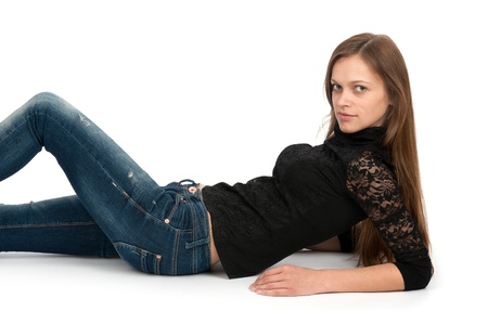 lieing:  woman lying on the floor and smiling Stock Photo
