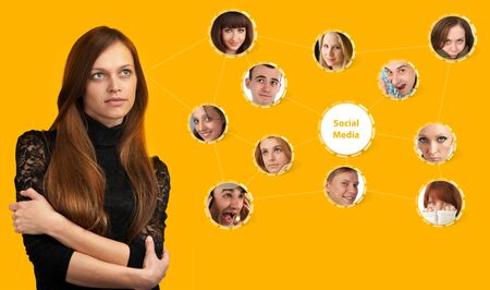 young woman with social network collage photo