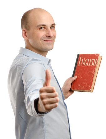 english dictionary: young friendly man with English Dictionary Book