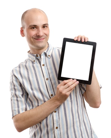 Portrait of handsome smiling man with tablet computer. Isolated over white background. photo