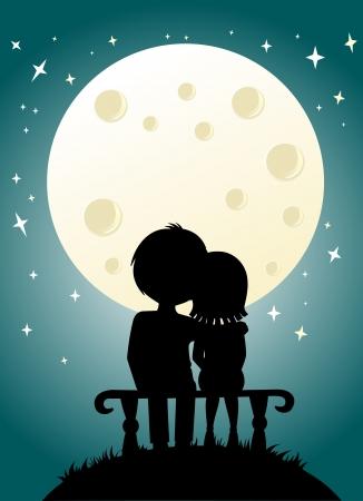 젊은 부부와 달 밤 하늘