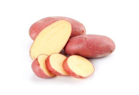 red potatoes on white background Foto de archivo