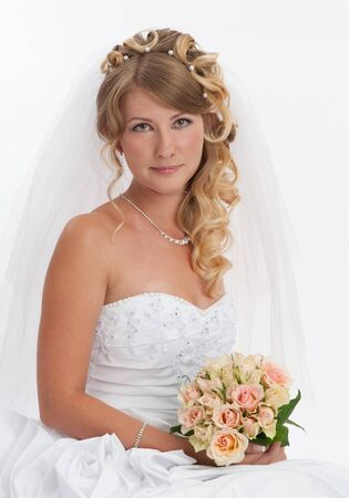 Studio portrait of beautiful bride photo