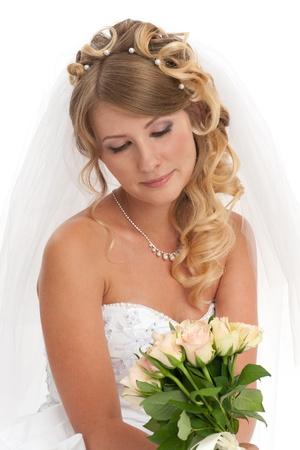 bridal makeup: Portrait of young beautiful bride  Stock Photo