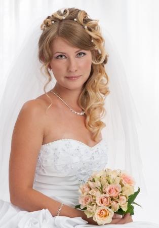 wedding hairstyle: Bride portrait  Wedding dress