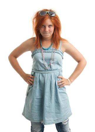 wild hair: Casual donna rossa con i capelli selvaggi