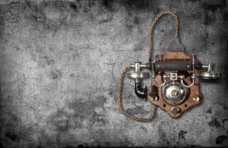 cabina telefonica: Tel�fono retro en una pared