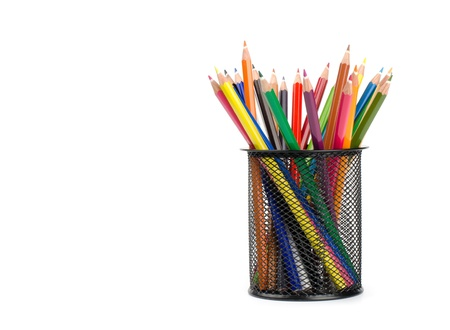 color pencils in a pail isolated on white background photo