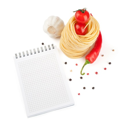 notebook for recipes, vegetables and pasta photo
