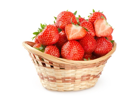 strawberry baskets: Basket of strawberries on white background Stock Photo