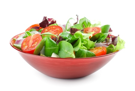 low cut: vegetable salad isolated on white Stock Photo