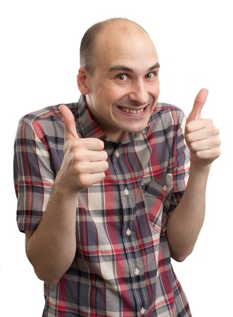 Funny guy showing his thumbs up photo