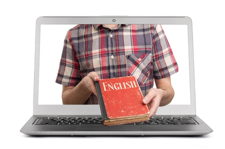e-learning english. Male student with book Stock Photo - 16262441