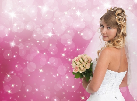 Beautiful bride. Pink bokeh background