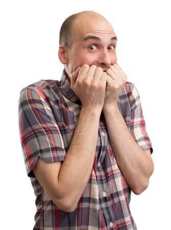 suspenso: Sorprendido hombre calvo sobre fondo blanco Foto de archivo