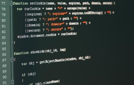Le code du programme sur un moniteur Banque d'images