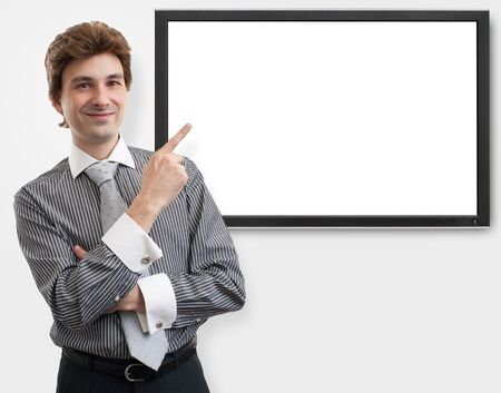 business man pointing finger on digital screen Stock Photo - 16763156