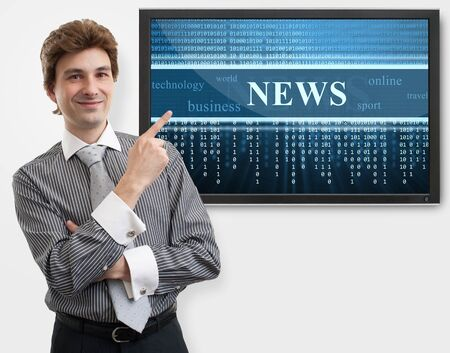 business man pointing finger on digital screen of news Stock Photo - 16763160
