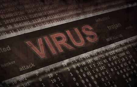 computer virus detection. Spyware concept. Grunge background photo