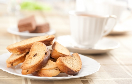 Rusk with raisin on a plate Stock Photo - 17451256