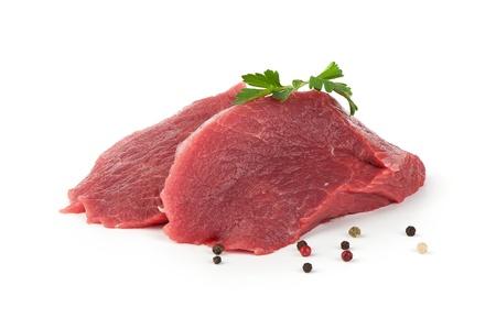 흰색 배경에 고립 된 원유 고기 스톡 콘텐츠