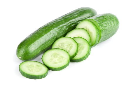 cucumber: Cucumber and slices isolated over white background