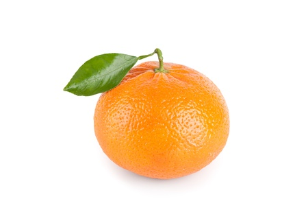 Tangerine with leaf isolated on white background