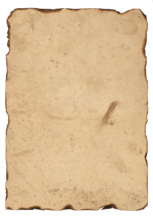 Old paper with burnt edges isolated on white background