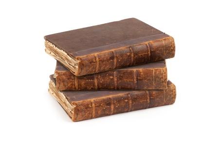 libros antiguos: Libros antiguos aislados sobre fondo blanco Foto de archivo