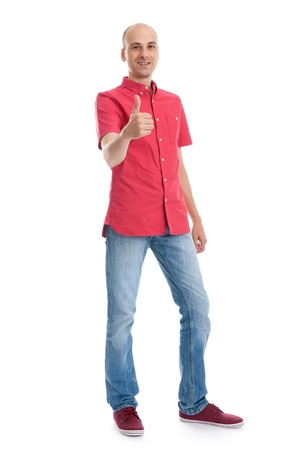 bald man: Full length portrait of a casual man showing his thumb up. isolated on white background