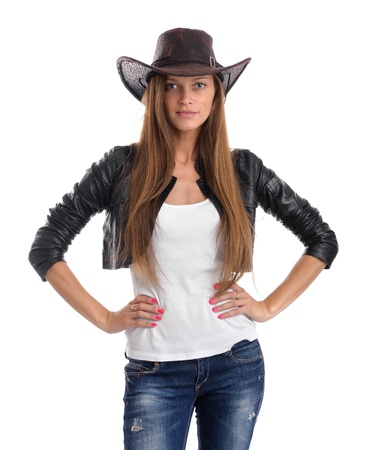 young woman in cowboy hat. Isolated on white background photo