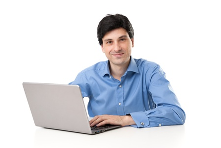 사업가 자신의 노트북에서 작동