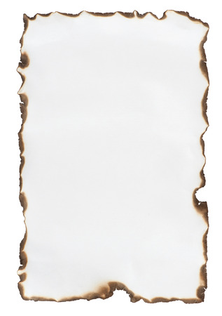 burnt paper isolated on a white background Foto de archivo