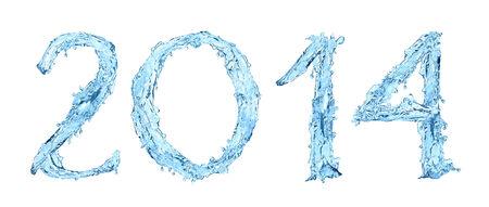 l'eau gelée. Bonne Année 2014 Banque d'images