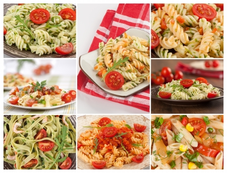 collage with different pasta photo