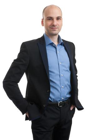 hombre calvo: Retrato de un hombre de negocios aislados en fondo blanco. Estudio de disparo. Foto de archivo